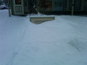 Admissions Office Snow - by Kathy Hartman
